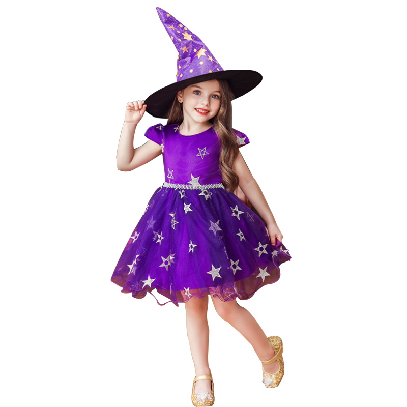 Halloween Costume <font><b>Party</b></font> Children Kids Cosplay Costume For Girls <font><b>Dress</b></font> With Hat 3 5 7 9 11 <font><b>13</b></font> <font><b>years</b></font> <font><b>old</b></font> image