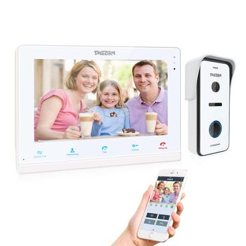 TMEZON 10 Inch Wireless Wifi Smart IP Video Doorbell Home Intercom System,Touchscreen Monitor with 720P Wired Door Phone Camera