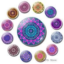 Datura aimant à fleurs pour réfrigérateur, 12 pièces, 30MM, ensemble, Cabochon en verre, autocollants de décoration en Mandala