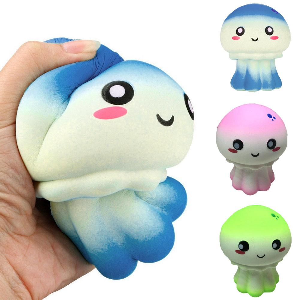 Faux Leather Material Cartoon Jellyfish Slow Rising Kids Adults Squeeze Toys Stress Reliever Stress Relief Toy Lovely Home Decor