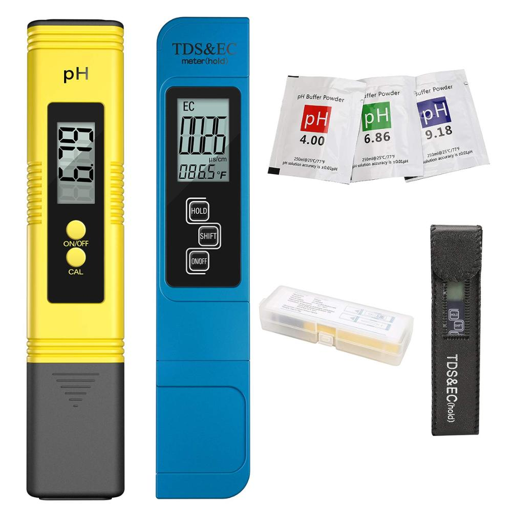 Verificador 0-9990ppm tds & filtro do aquário da pureza ppm da água do lcd do ce 2 pces medidor de tds digital 0.0-14.0 do medidor de ph