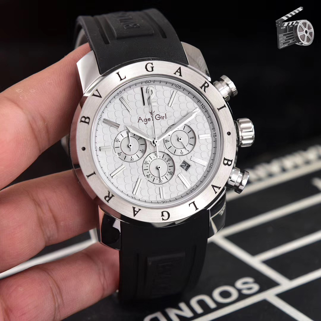 Luxury Brand New Men Silver Black White Daydate Date Stainless Steel Japanese Quartz Chronograph Sapphire Glass Watch Limited