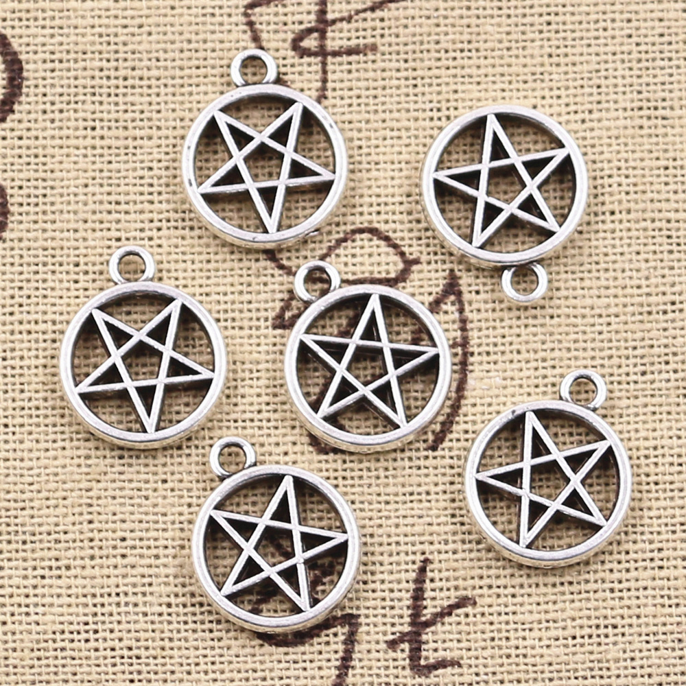 15pcs Charms Star Pentagram 17x14mm Antique Silver Color Plated Pendants Making DIY Handmade Tibetan Finding Jewelry 2