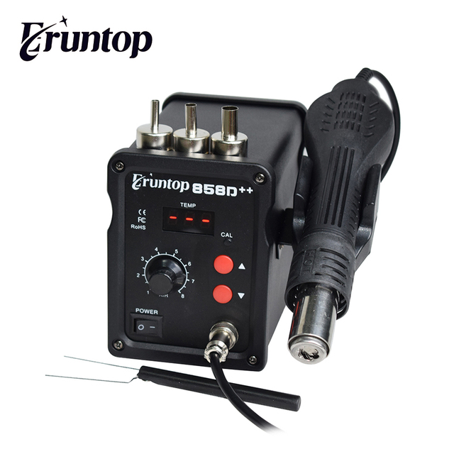 Паяльная станция Eruntop 858D + + SMD ESD, 110 В/220 В, 700 Вт, СВЕТОДИОДНЫЙ Цифровой паяльник, пистолет горячего воздуха, паяльник обновленный 858D