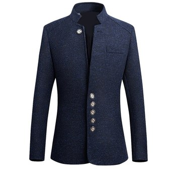 2019 Chinese Style Business Casual Stand Men Jacket 2019 Autumn New Collar Male Blazer Slim Mens Blazer Jacket Plus Size 5XL 1