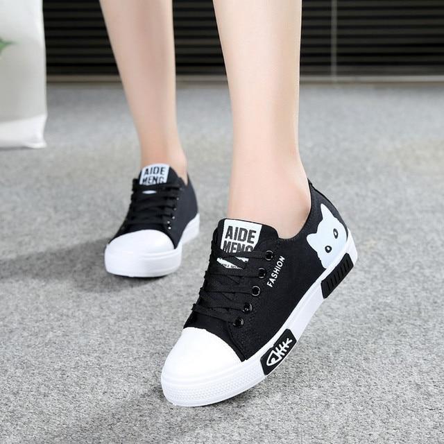 2020 zapatillas de lona vulcanizadas para mujer, zapatillas de plataforma para mujer con Gato de dibujos animados, zapatos de mesa para mujer, zapatos de punta redonda de talla grande 41 4