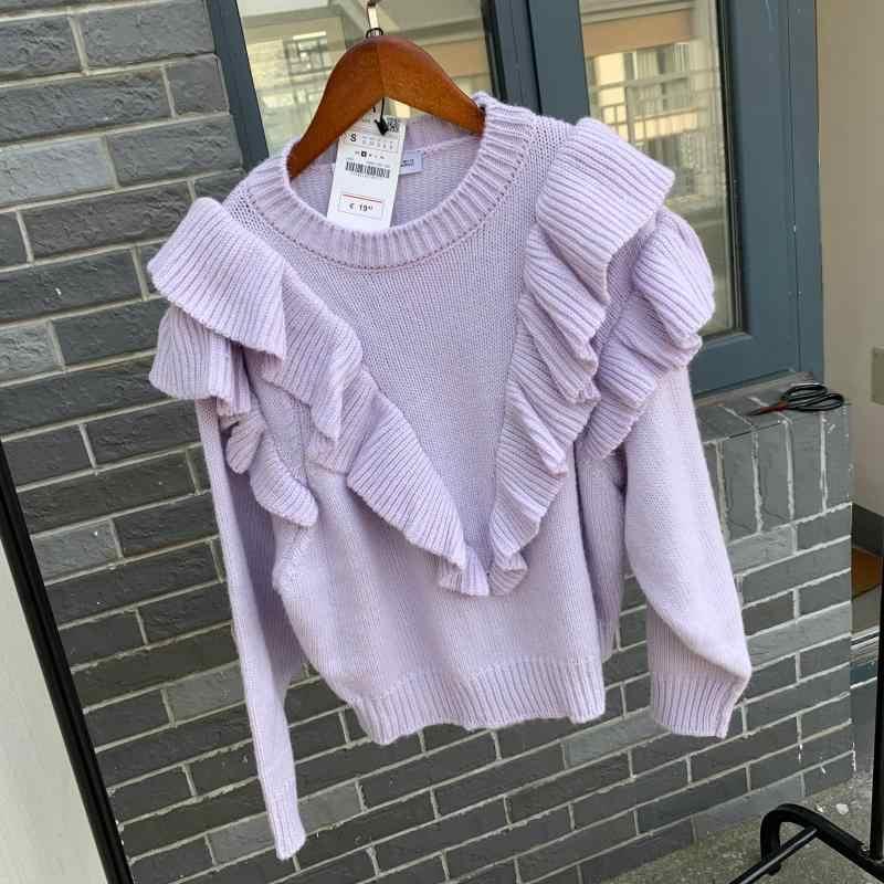 Musim Semi Musim Dingin Ungu Poliester Rajutan Sweater Wanita Pullover Kasual O Leher Lengan Panjang CHIC Korea Sweater Manis Puff Femme 2019