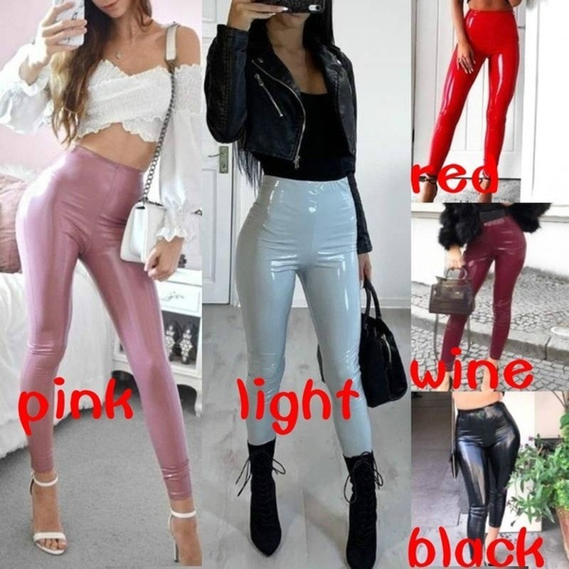 New Womens Sexy PU Leather Vinyl Leggings Wet Look High Waist Latex Pants Slim Leather Shiny Trouser Pole Dance Pants Clubwear
