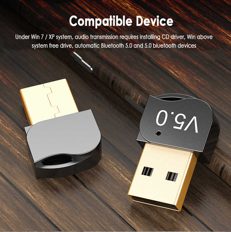 Adaptor Nirkabel USB Bluetooth 5.0 Dongle Bluetooth Musik Receiver Adaptor Bluetooth Transmitter untuk Komputer PC Laptop