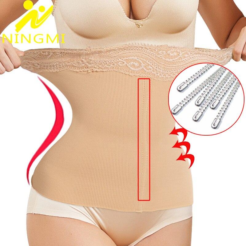 NINGMI Slimming Waist Trainer Body Shaper Women Modeling Belt Shapewear Lace Sexy Corset Strap Long Torso Cincher Supports