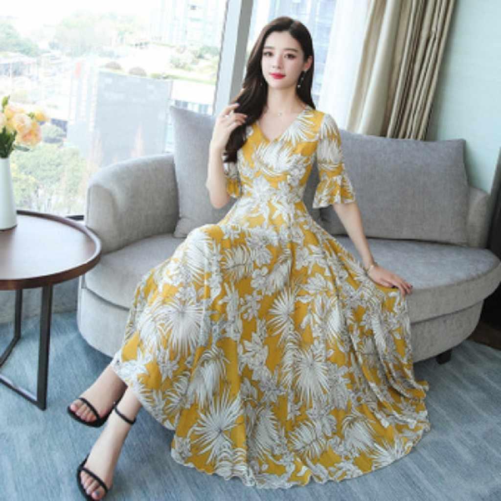 2020 Floral Print Chiffon Strand Langes Kleid Sommer Vintage Maxi Sommerkleid Elegante Frauen Bodycon Party Kleider Vestidos # P30
