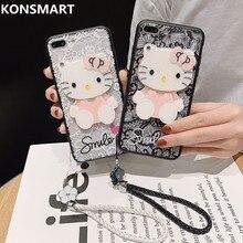 Kitty Ốp Lưng Điện thoại Huawei Nova5 5I Pro Nova 4 3 3I 2 2Plus 2S Dễ Thương Gương nắp lưng Nova Lite Mặt Dây Chuyền Fundas Konsmart