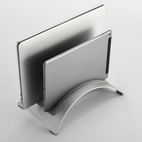 Aluminum Vertical Laptop Stand Double Slot Desktop Laptop Holder For MacBook Pro Air 13 Retina IPad With 3 Silicone Strips