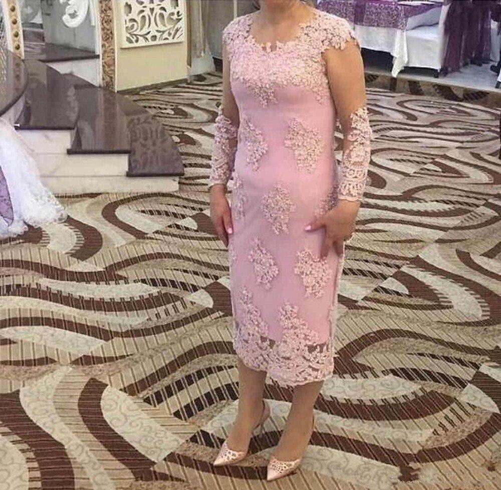 Vestido Novia Appliques Tea Length Elegant Weddings Party Evening Gown 2018 Jewel Long Sleeves Lace Mother Of The Bride Dresses