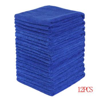 12 Uds toallas absorbentes de microfibra para el coche, limpieza del hogar, paño de lavado azul marino, herramienta de limpieza del hogar