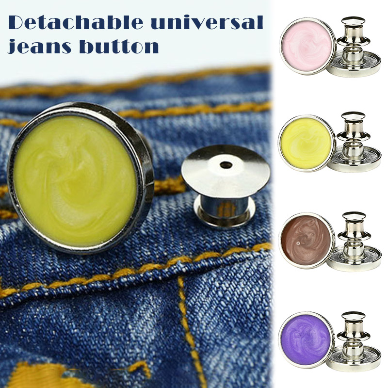 10pcs Jeans Retractable Button Adjustable Removable Reduce Waist Stapleless Metal Button -OPK
