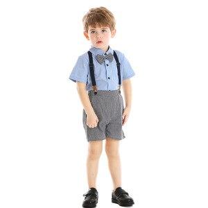 Image 3 - Baby kinder kleidung jungen anzug set für sommer neue angekommene blaue hemd grau shorts für baby geburtstag 2020 kleinkind gentleman anzug
