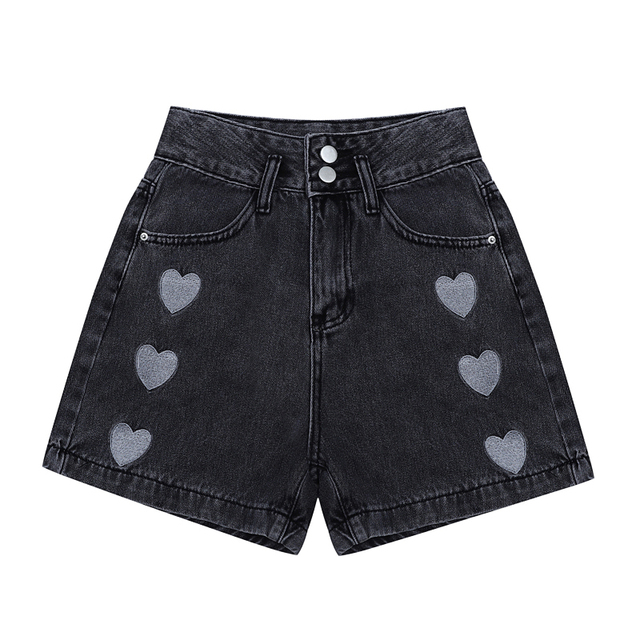 2021 New Summer Fashion Women High Waist Button Vintage Print Leg Jeans Shorts Casual Female Loose Streetwear Denim Shorts 3