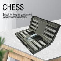 Portable Leather Chessboard PU Chess Board Portable Backgammon Board Puzzle Game Table Game Chess Box