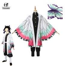 ROLECOS Anime Demon Slayer Cosplay Costumes Kochou Shinobu Costume Halloween Women Kimetsu No Yaiba Uniform Cloak