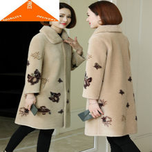 Coat Female Real Winter Mink Fur Collar Women Clothes 2020 Korean Vintage Sheep Shearing Jacket Wool Tops 2027(China)