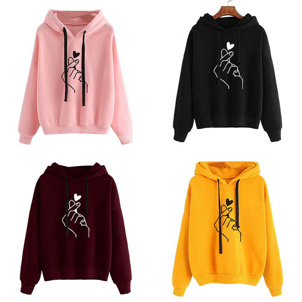 2019 New Women Fashion Hoodies Sweatshirt Girls Print Casual Hooded Love Heart-shaped Hand Spring Kawaii Pullover Streetwear