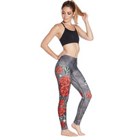 2019 Rose printing shows thin buttocks breathable air super elastic and quick drying women's nine point lady pants leggings
