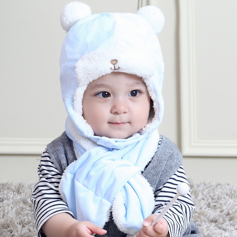 Cartoon Children  Hat Scarf Autumn  Winter Warm Fleece Lined Ear Windproof Bear Korean Cute Cap 1-2year Baby