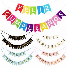 1Set Spanish Happy Birthday Bunting Banner Letter Feliz Cumpleaños Paper Garland Birthday Party Hanging Flags Decoration Supply