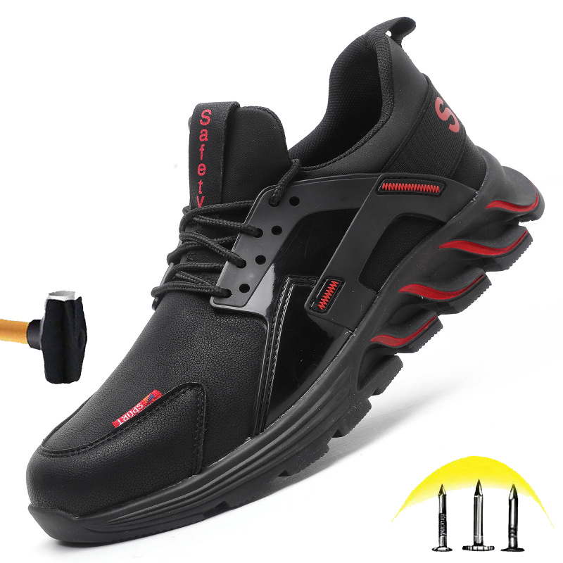 New Fashion Steel Head Safety Shoes Men's Outdoor Non-slip Waterproof Sports Shoes Lightweight Breathable Construction Work Shoes