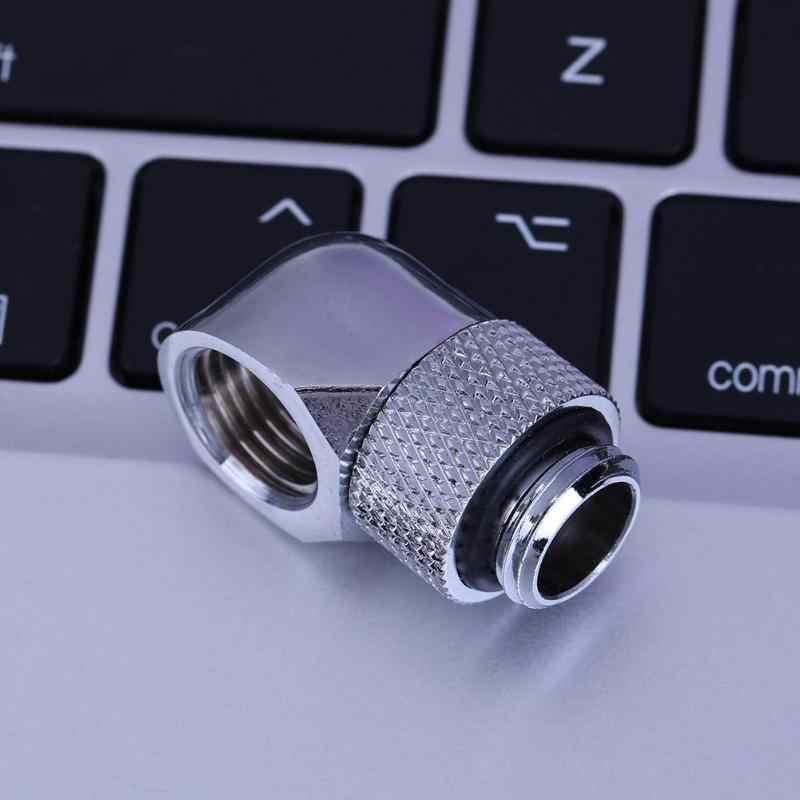 G1/4 iç dış çift dişli 90 derece döner su tüpü konnektör adaptörü pc bilgisayar su soğutma aksesuarları