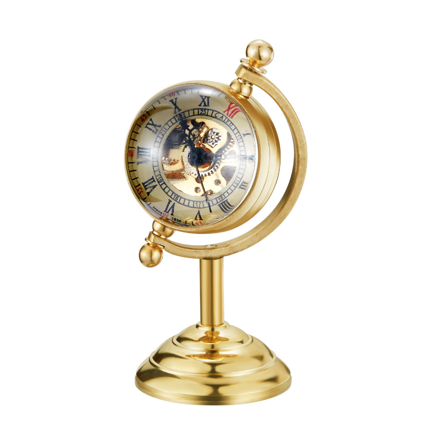 Creative Clock Seconds Movement Metal Retro Globe Mechanical Pocket Watch