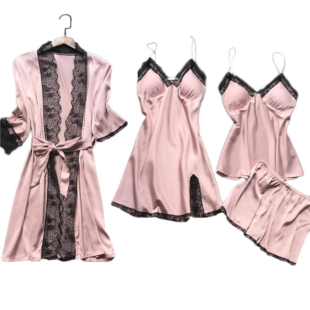 CALOFE Summer 2020 Women Pajama Sets 4 Pcs Sexy Lace Pyjamas Women Satin Silk Sleepwear Elegant Pijama with Chest Pads Homewear Women Women's Clothings cb5feb1b7314637725a2e7: 1(4-piece)|10(4-piece)|11(4-piece)|2(4-piece)|3(4-piece)|4(4-piece)|5(4-piece)|6(4-piece)|7(4-piece)|8(4-piece)|9(4-piece)|B1(5-piece)|B2(5-piece)|B3(5-piece)|B4(5-piece)|B5(5-piece)|B6(5-piece)|C1(4-piece)|C2(4-piece)|C3(4-piece)|C4(4-piece)