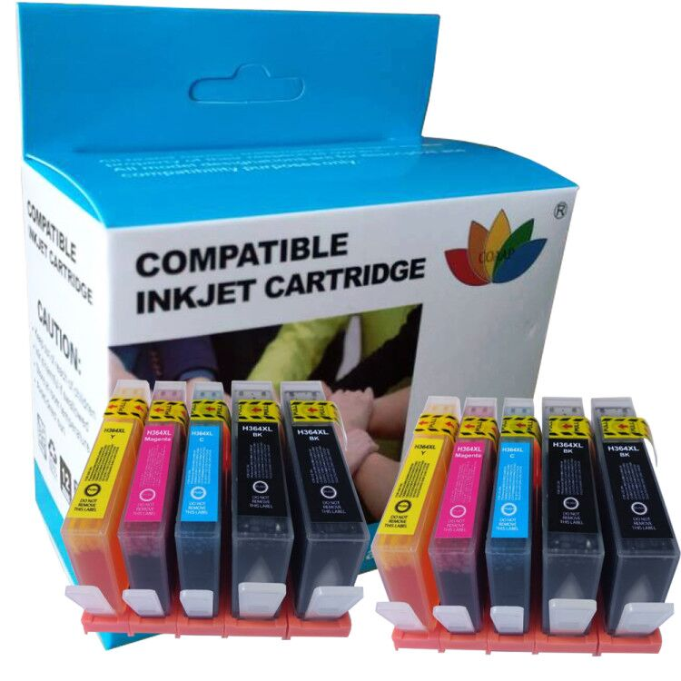 10 Compatible ink cartridges for <font><b>hp</b></font> <font><b>364</b></font> cn684ee Photosmart 6520 5520 7520 7510 B109n B110a B210 C309 C410 Printer for hp364 image