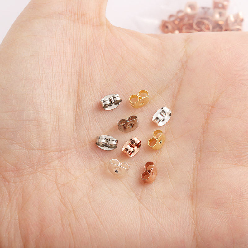 100pcs 6x4.5mm Gold Silver Tone Stainless Steel Earrings Back Rose Butterfly Ear Nuts Stopper Fit DIY Jewelry Making Supplies