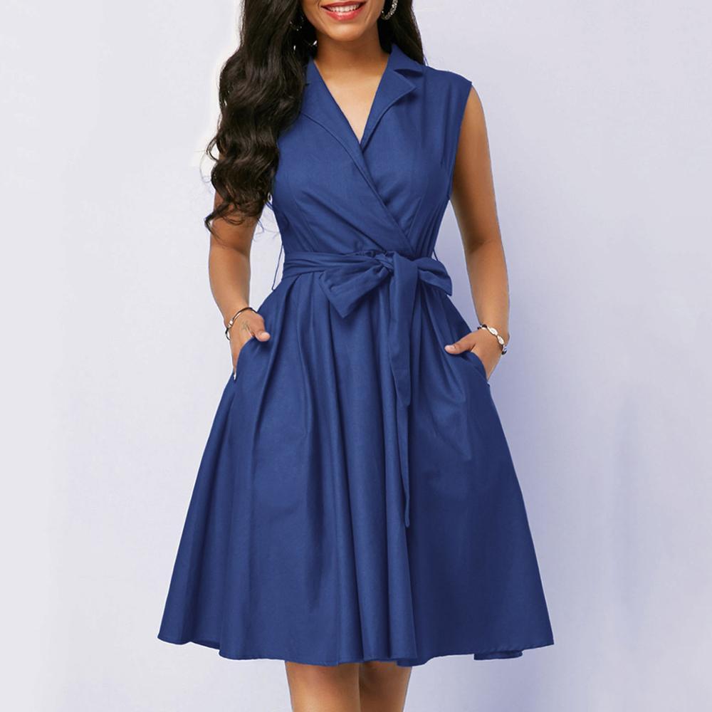 Casual Women Dress Sleeveless Notched Navy Blue Dress Sashes Summer A-line Beach Maxi Dresses Plus Size Party Dress Vestidos