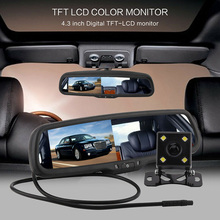 4.3 inch HD LCD Screen Car Rearview Mirror Monitor Display Auto Dimming With Bracket + Rearview Camera Display hd 4 3 special bracket auto dimming interior mirror monitor auto anti glare mirror car parking monitor for vw fort kia toyota