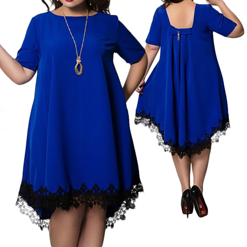 5XL 6Xl Plus Size Summer Dress Women Casual Summer Mini Backless Lace Dress Tassel Sexy Beach Dresses Party Vestidos(China)