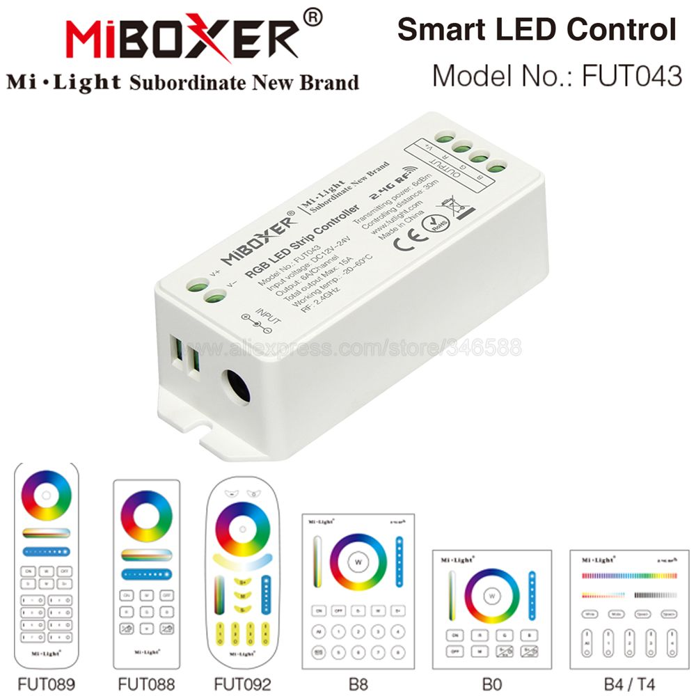 Пульт ду MiBoxer FUT043 светодиодный 12 в пост. Тока 24 6 а/ч 15 а 2 4 ггц strip controller rgb led strip