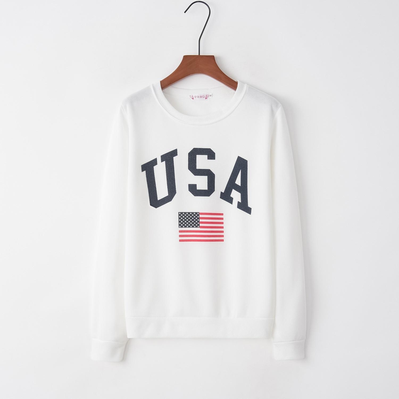 Print Letter Usa 2020 New Design Hot Sale Hoodies Sweatshirts Women Casual Kawaii Harajuku Sweat Girls European Tops Korean