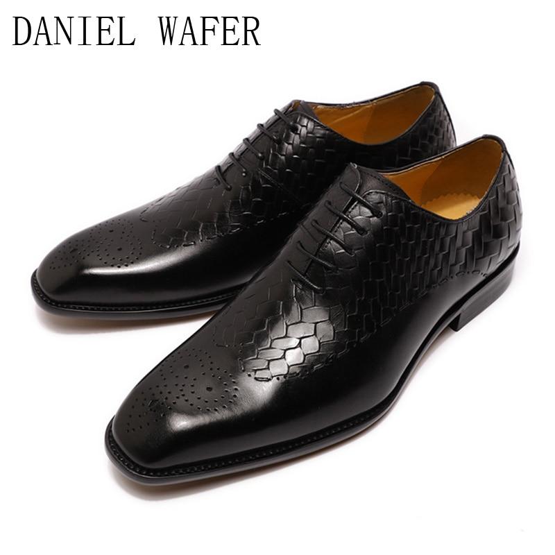 Hot Selling Fashion Design Plaid Print Luxury Formal Dress Shoes Genuine Leather...