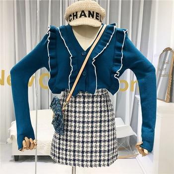 цена Cardigan Fashion Women V-Neck Ruffles Sweet Solid Single Breasted Women Full Sleeve Sweater  Female Cardigan Fall Blue White онлайн в 2017 году
