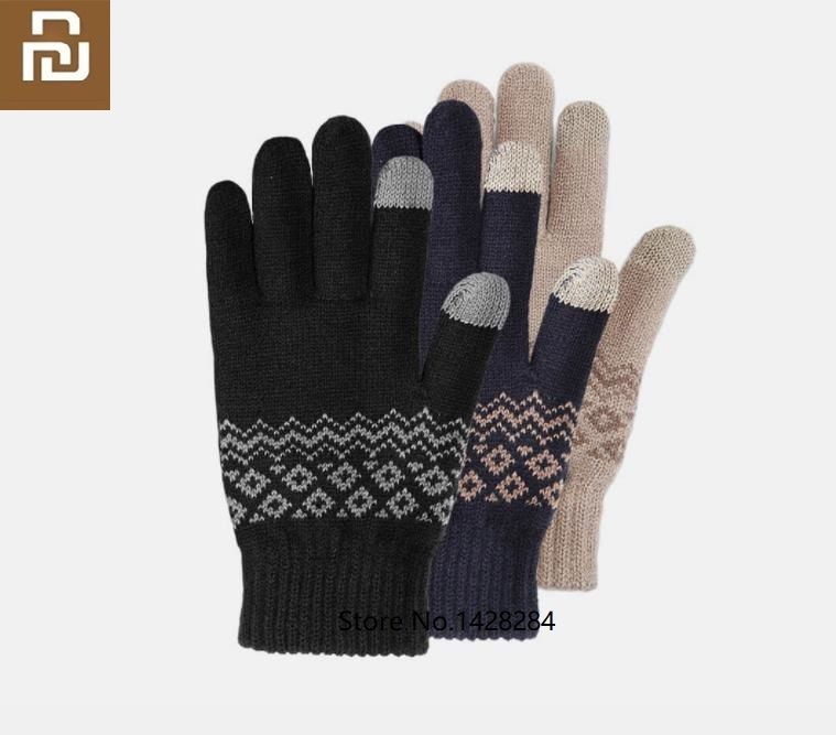 Youpin Winter Men Touch Screen Warm Velvet Gloves Male Mitten Thicken Warm Business Knitted Sweater Driving Gloves
