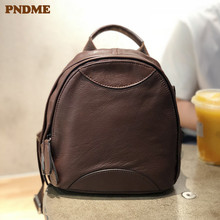 PNDME vintage genuine leather women's small backpack casual simple outdoor daily high quality cowhide ladies mini cute bagpack