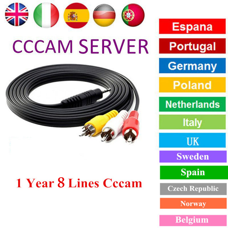 Receiver Server CCCAM 8 Lines Cline 1 Year HD Server Account For Satellite Receiver Spain UK Germany French Italy Spain