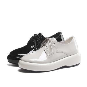 Image 4 - Lenkisen hot catwalk genuine leather round toe thick bottom lace up solid basic beauty lady fashion women vulcanized shoes L10