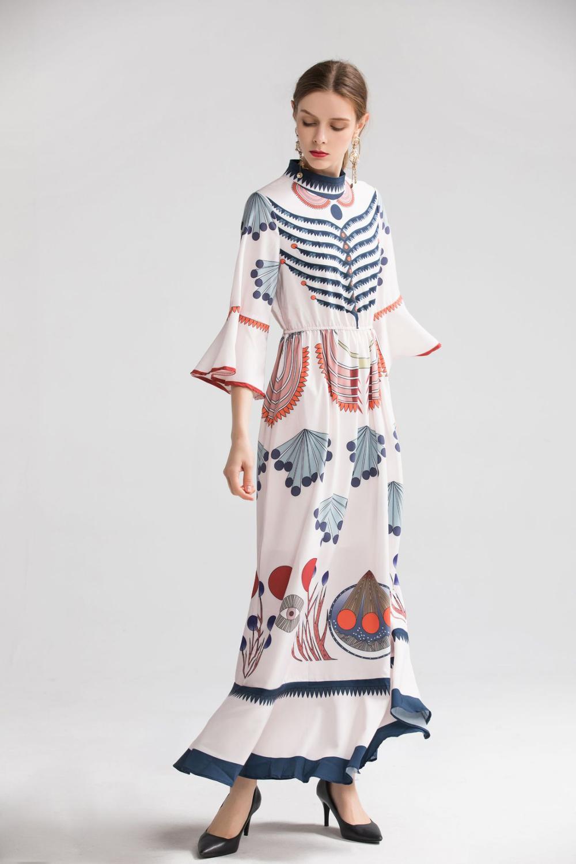 Kadın Giyim'ten Elbiseler'de Bayan Milan 2019 kadın O Boyun 3/4 Parlama Kollu Baskılı Ruffles Zarif Uzun Artı Boyutları Moda Pist Elbiseler'da  Grup 2