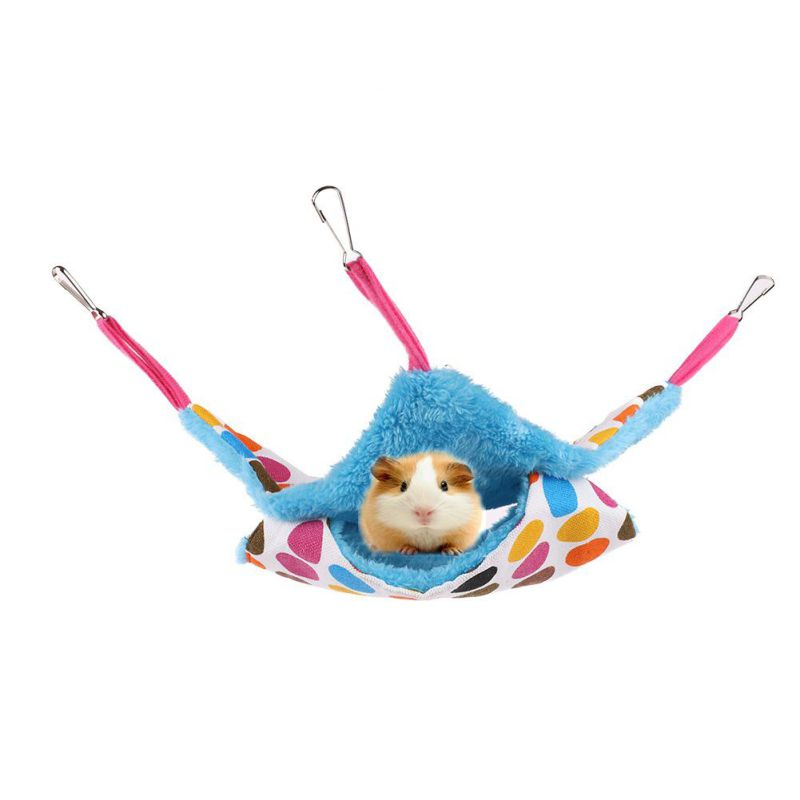 Cute Small Animal Suspended Warm Plush Double-deck Pet Hamster Hammock Bed Mat For Guinea Pig Rabbit Hanging Bed Cage Accessory