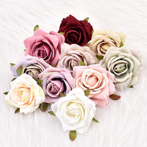 1PCS 7cm Artificial White Rose Silk Flower Heads For Wedding Decoration DIY Wreath Gift Box Scrapbooking Craft Fake Flowers