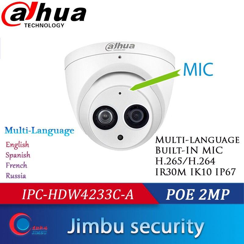 Dahua 1080P Starlight POE 2MP IPC-HDW4233C-A Sony Dome IP Camera Built Mic H.265 IR30m 3DNR Waterproof Indoor Security Camera